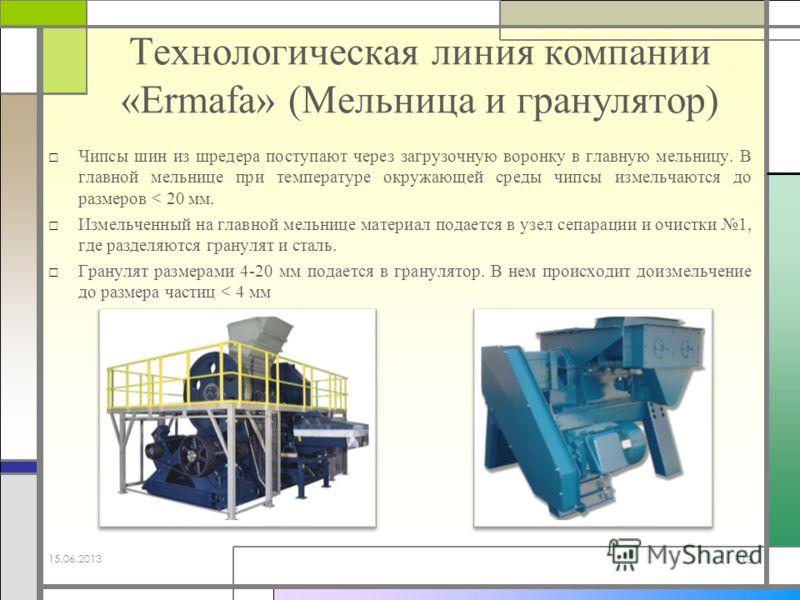Технологическая линия компании «Ermafa» (Мельница и гранулятор) Чипсы шин из шредера поступают через загрузочную воронку в главную мельницу. В главной мельнице при температуре окружающей среды чипсы измельчаются до размеров < 20 мм. Измельченный на г
