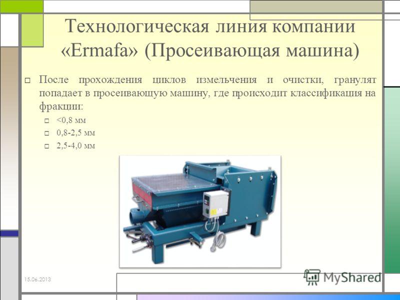 Технологическая линия компании «Ermafa» (Просеивающая машина) После прохождения циклов измельчения и очистки, гранулят попадает в просеивающую машину, где происходит классификация на фракции:
