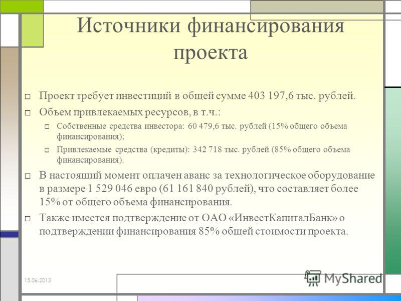 Источники финансирования проекта Проект требует инвестиций в общей сумме 403 197,6 тыс. рублей. Объем привлекаемых ресурсов, в т.ч.: Собственные средства инвестора: 60 479,6 тыс. рублей (15% общего объема финансирования); Привлекаемые средства (креди