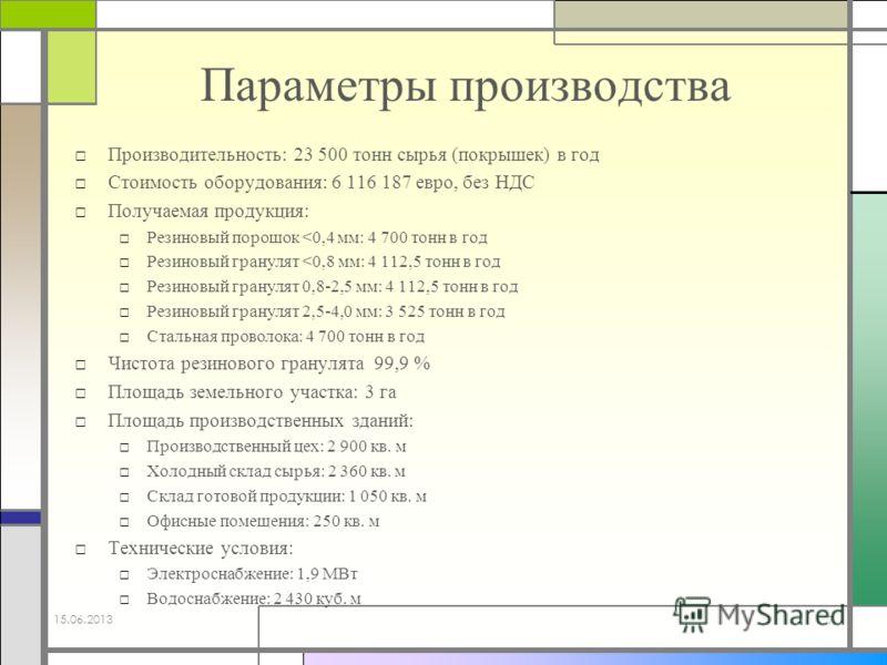 Параметры производства Производительность: 23 500 тонн сырья (покрышек) в год Стоимость оборудования: 6 116 187 евро, без НДС Получаемая продукция: Резиновый порошок