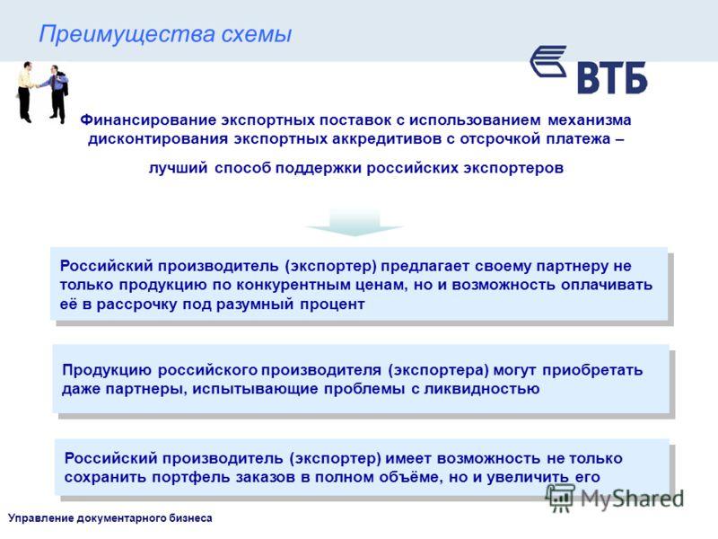 Управление документарного бизнеса Финансирование экспортных поставок с использованием механизма дисконтирования экспортных аккредитивов с отсрочкой платежа – лучший способ поддержки российских экспортеров Российский производитель (экспортер) предлага