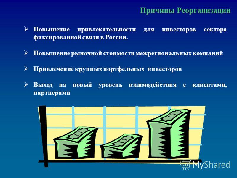 Причины Реорганизации Причины Реорганизации Повышение привлекательности для инвесторов сектора фиксированной связи в России. Повышение рыночной стоимости межрегиональных компаний Привлечение крупных портфельных инвесторов Выход на новый уровень взаим