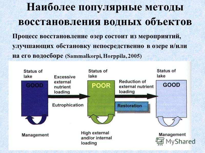 Наиболее популярные методы восстановления водных объектов Процесс восстановление озер состоит из мероприятий, улучшающих обстановку непосредственно в озере и/или на его водосборе (Sammalkorpi, Horppila, 2005)