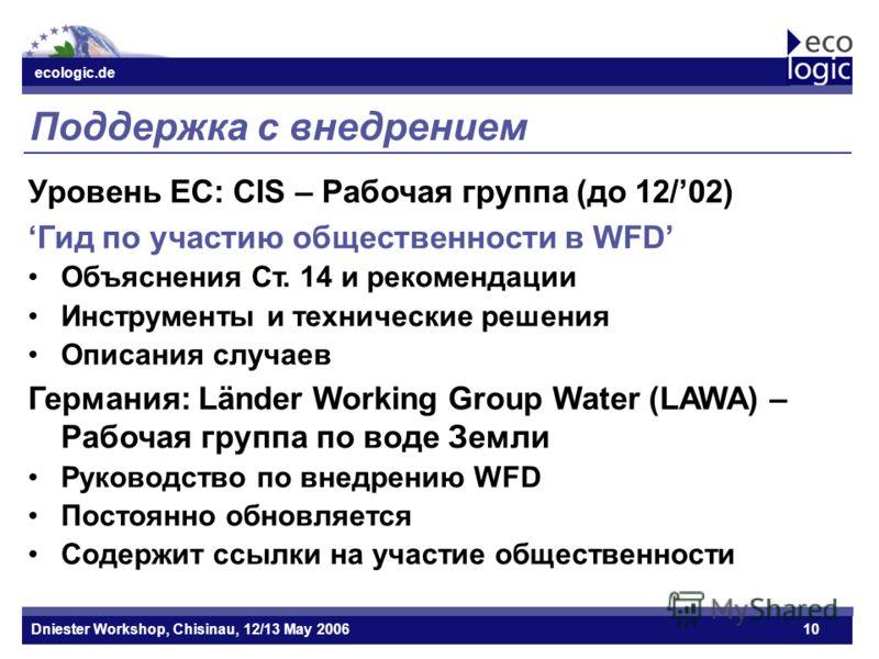ecologic.de Datum ecologic.de Dniester Workshop, Chisinau, 12/13 May 200610 Поддержка с внедрением Уровень ЕС: CIS – Рабочая группа (до 12/02) Гид по участию общественности в WFD Объяснения Ст. 14 и рекомендации Инструменты и технические решения Опис