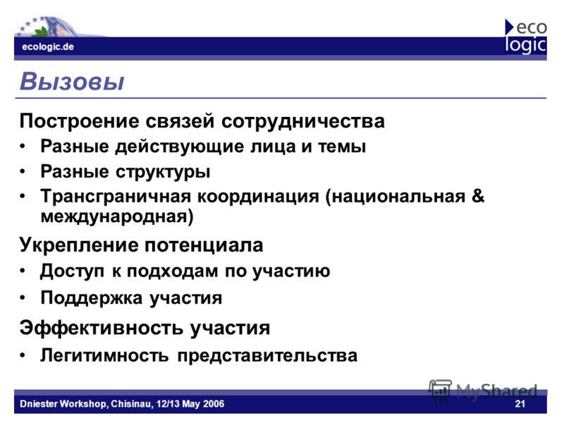 ecologic.de Datum ecologic.de Dniester Workshop, Chisinau, 12/13 May 200621 Вызовы Построение связей сотрудничества Разные действующие лица и темы Разные структуры Трансграничная координация (национальная & международная) Укрепление потенциала Доступ
