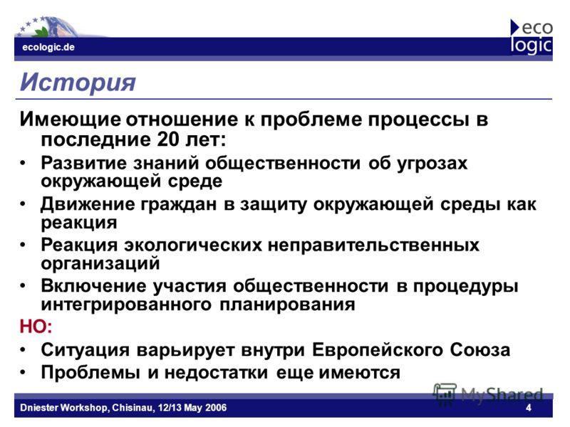 ecologic.de Datum ecologic.de Dniester Workshop, Chisinau, 12/13 May 20064 История Имеющие отношение к проблеме процессы в последние 20 лет: Развитие знаний общественности об угрозах окружающей среде Движение граждан в защиту окружающей среды как реа