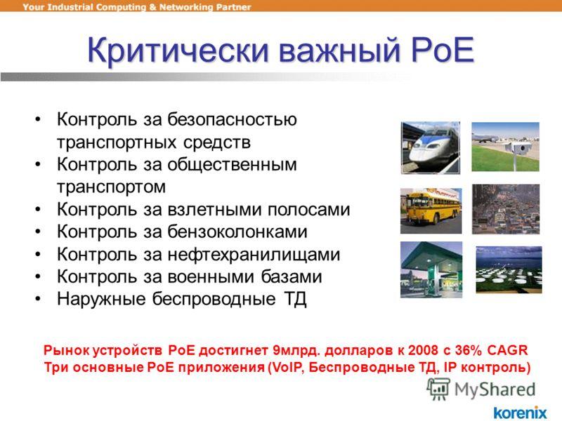 Критически важный PoE Контроль за безопасностью транспортных средств Контроль за общественным транспортом Контроль за взлетными полосами Контроль за бензоколонками Контроль за нефтехранилищами Контроль за военными базами Наружные беспроводные ТД Рыно