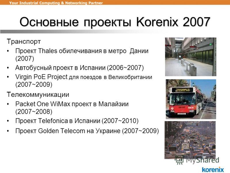 Основные проекты Korenix 2007 Транспорт Проект Thales обилечивания в метро Дании (2007) Автобусный проект в Испании (2006~2007) Virgin PoE Project для поездов в Великобритании (2007~2009) Телекоммуникации Packet One WiMax проект в Малайзии (2007~2008