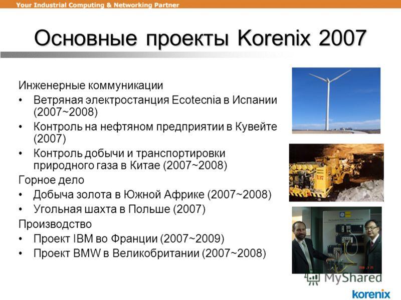 Основные проекты Korenix 2007 Инженерные коммуникации Ветряная электростанция Ecotecnia в Испании (2007~2008) Контроль на нефтяном предприятии в Кувейте (2007) Контроль добычи и транспортировки природного газа в Китае (2007~2008) Горное дело Добыча з