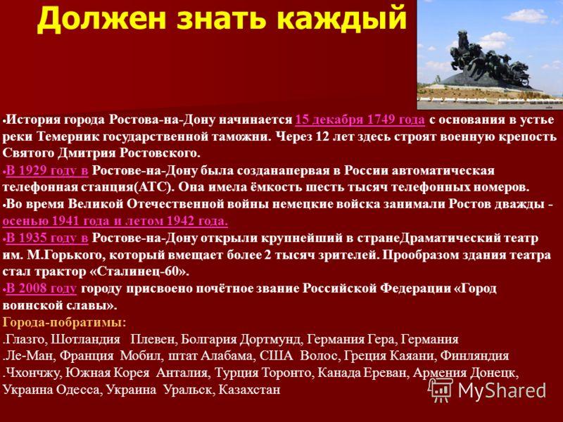 Должен знать каждый История города Ростова-на-Дону начинается 15 декабря 1749 года с основания в устье реки Темерник государственной таможни. Через 12 лет здесь строят военную крепость Святого Дмитрия Ростовского. В 1929 году в Ростове-на-Дону была с