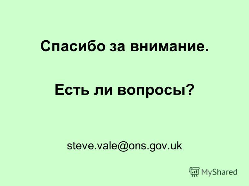 Спасибо за внимание. Есть ли вопросы? steve.vale@ons.gov.uk