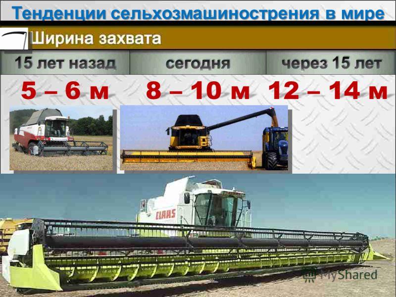 Тенденции сельхозмашинострения в мире Seite 10 5 – 6 м 8 – 10 м 12 – 14 м