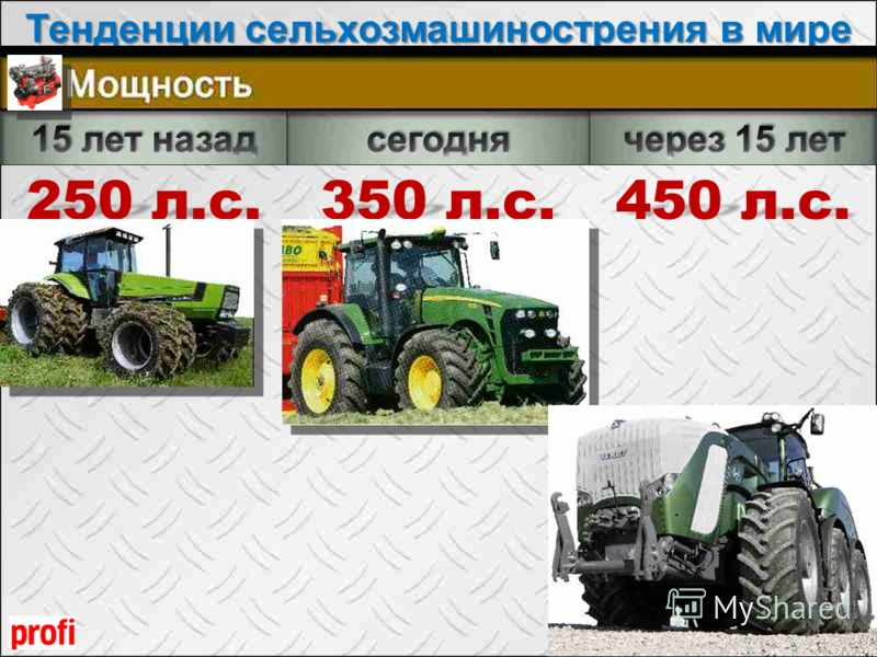 Тенденции сельхозмашинострения в мире Seite 8 250 л.с. 350 л.с. 450 л.с.