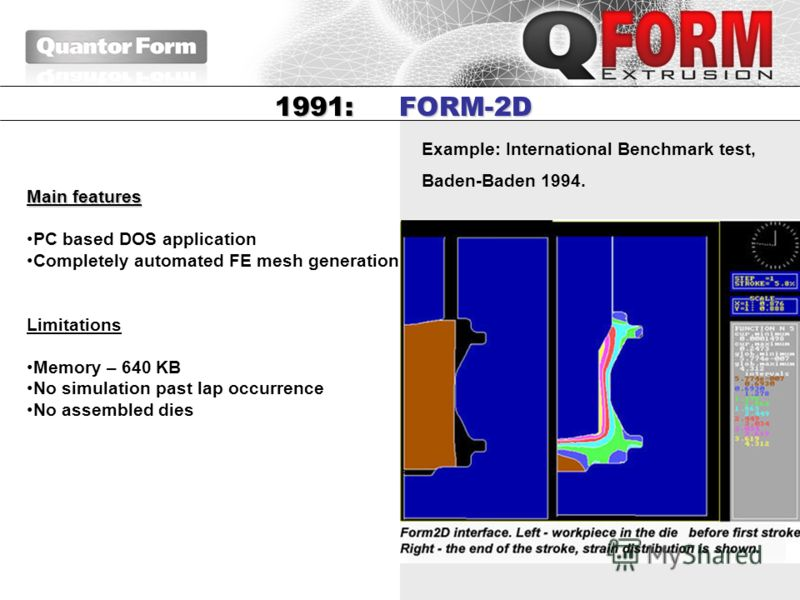 Example: International Benchmark test, Baden-Baden 1994. 1991: FORM-2D Main features PC based DOS application Completely automated FE mesh generation Limitations Memory – 640 KB No simulation past lap occurrence No assembled dies