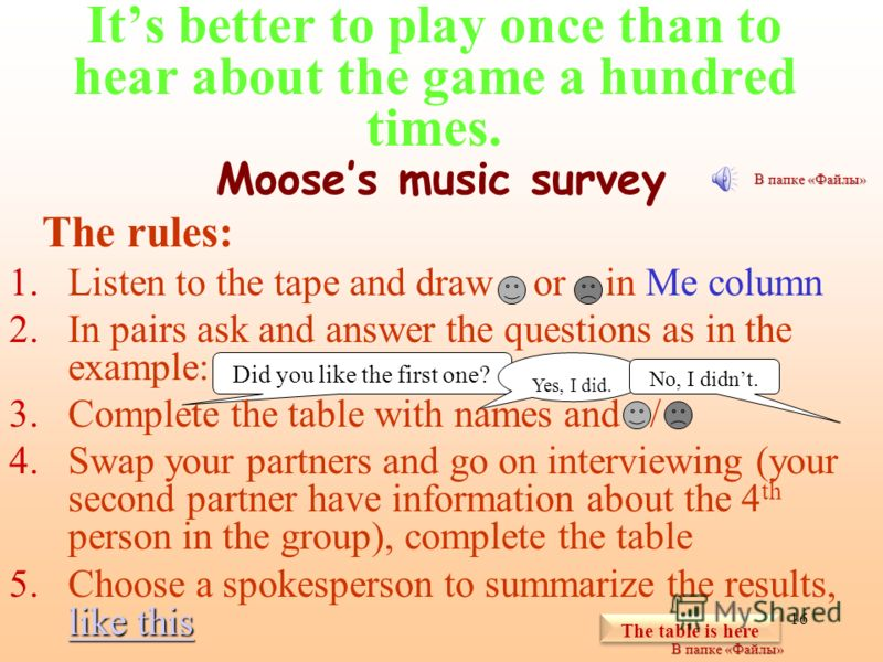 15 Communicative games Find your partner Sports survey Mooses music survey Who…? Explorers