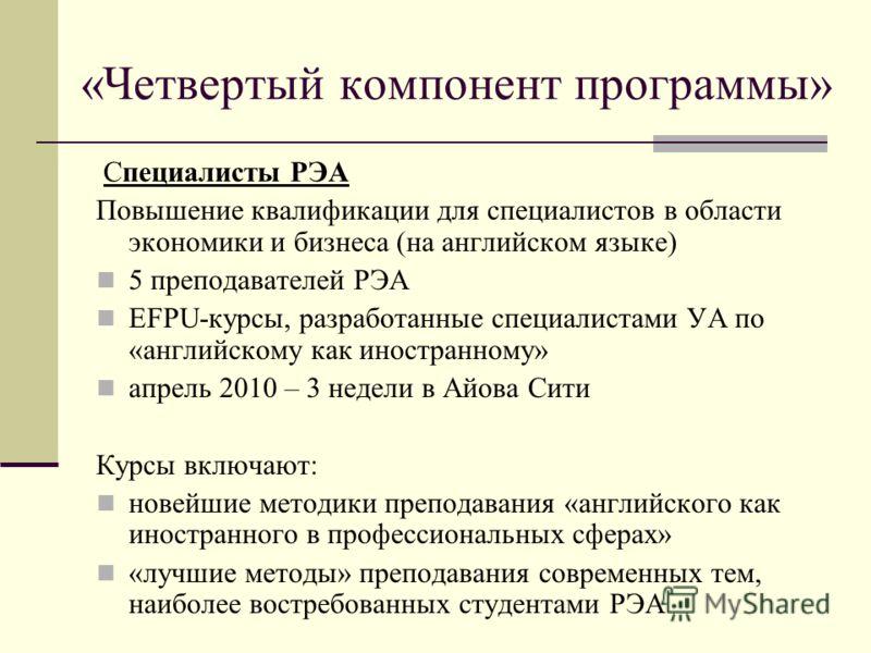 «Четвертый компонент программы» Специалисты РЭА Повышение квалификации для специалистов в области экономики и бизнеса (на английском языке) 5 преподавателей РЭА EFPU-курсы, разработанные специалистами УА по «английскому как иностранному» апрель 2010
