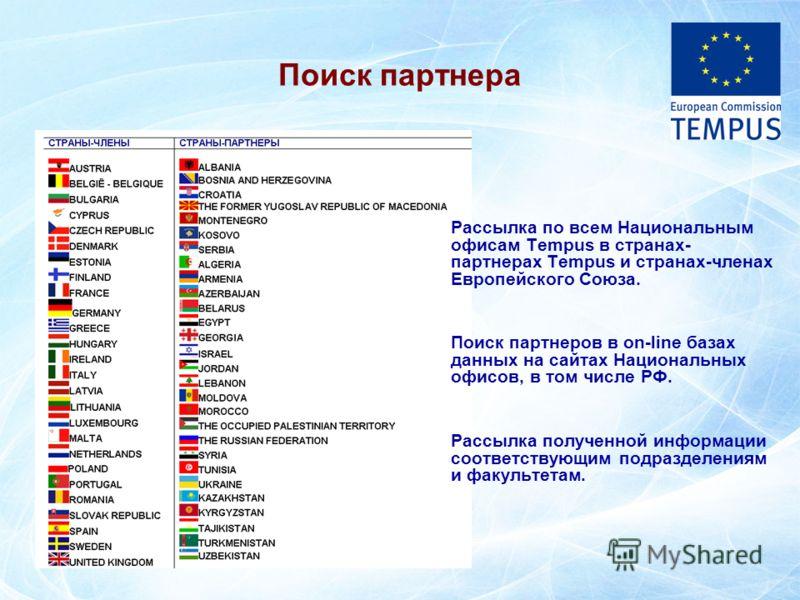 Рассылка по всем Национальным офисам Tempus в странах- партнерах Tempus и странах-членах Европейского Союза. Поиск партнеров в on-line базах данных на сайтах Национальных офисов, в том числе РФ. Рассылка полученной информации соответствующим подразде