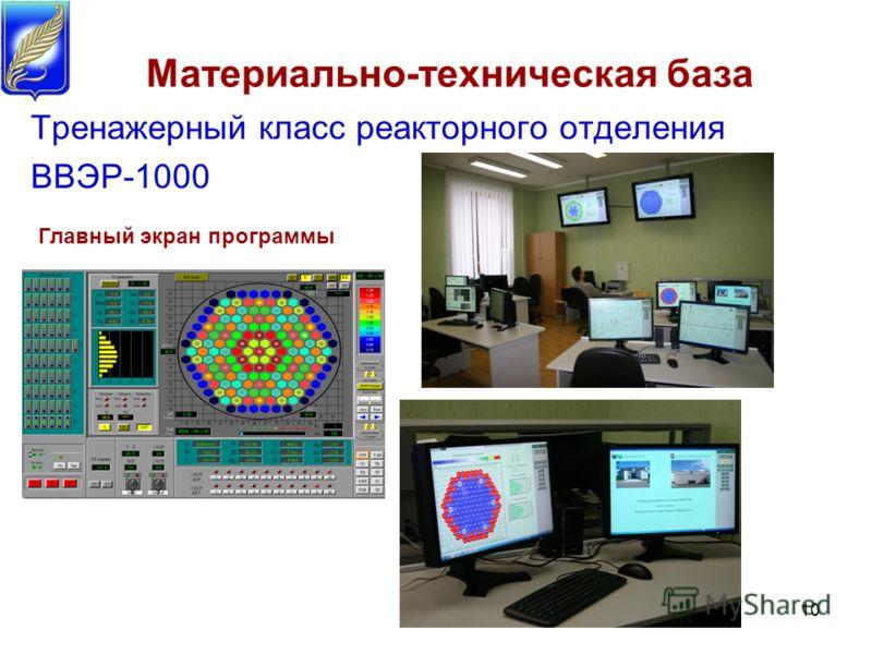 Тренажерный класс реакторного отделения ВВЭР-1000 10 Материально-техническая база Главный экран программы