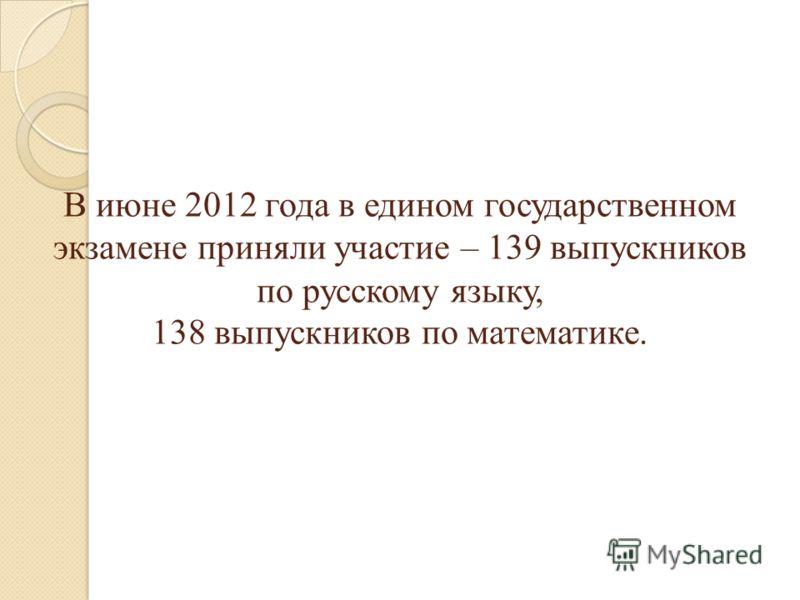 В июне 2012 года в едином государственном экзамене приняли участие – 139 выпускников по русскому языку, 138 выпускников по математике.