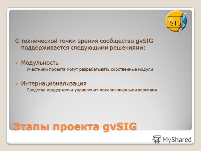 Этапы проекта gvSIG С технической точки зрения сообщество gvSIG поддерживается следующими решениями: Модульность Модульность Участники проекта могут разрабатывать собственные модули Интернационализация Интернационализация Средства поддержки и управле
