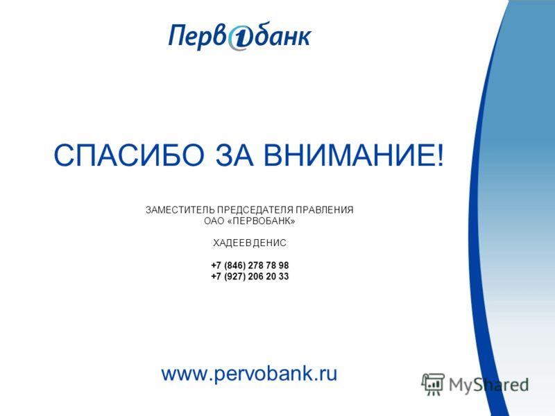 СПАСИБО ЗА ВНИМАНИЕ! ЗАМЕСТИТЕЛЬ ПРЕДСЕДАТЕЛЯ ПРАВЛЕНИЯ ОАО «ПЕРВОБАНК» ХАДЕЕВ ДЕНИС +7 (846) 278 78 98 +7 (927) 206 20 33 www.pervobank.ru