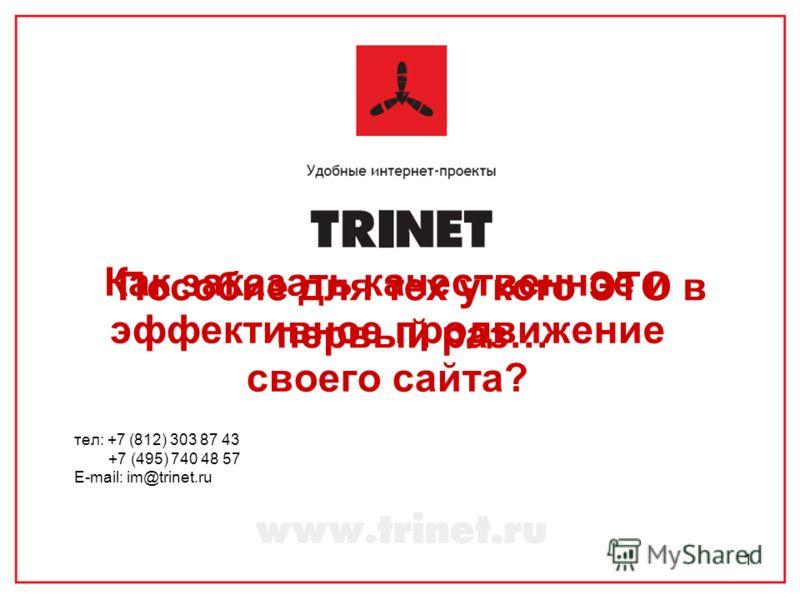 1 Как заказать качественное и эффективное продвижение своего сайта? тел: +7 (812) 303 87 43 +7 (495) 740 48 57 E-mail: im@trinet.ru Пособие для тех у кого ЭТО в первый раз…