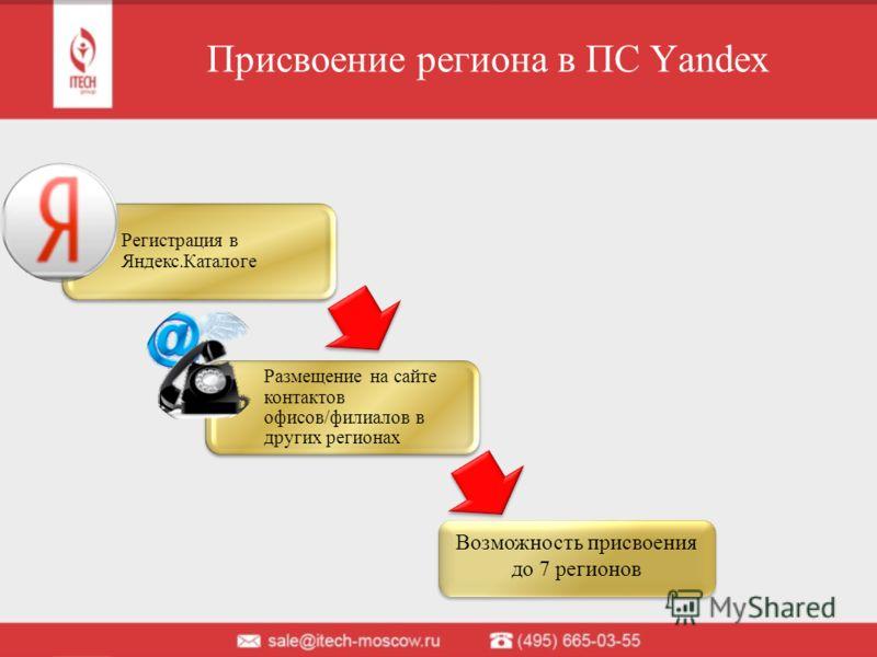 Присвоение региона в ПС Yandex Регистрация в Яндекс.Каталоге Размещение на сайте контактов офисов/филиалов в других регионах Возможность присвоения до 7 регионов