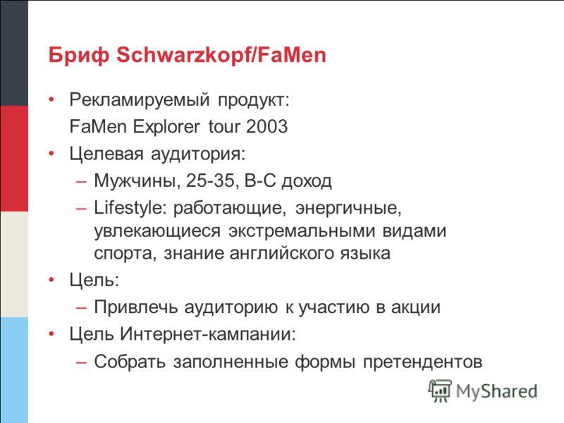 Бриф Schwarzkopf/FaMen Рекламируемый продукт: FaMen Explorer tour 2003 Целевая аудитория: –Мужчины, 25-35, B-C доход –Lifestyle: работающие, энергичные, увлекающиеся экстремальными видами спорта, знание английского языка Цель: –Привлечь аудиторию к у