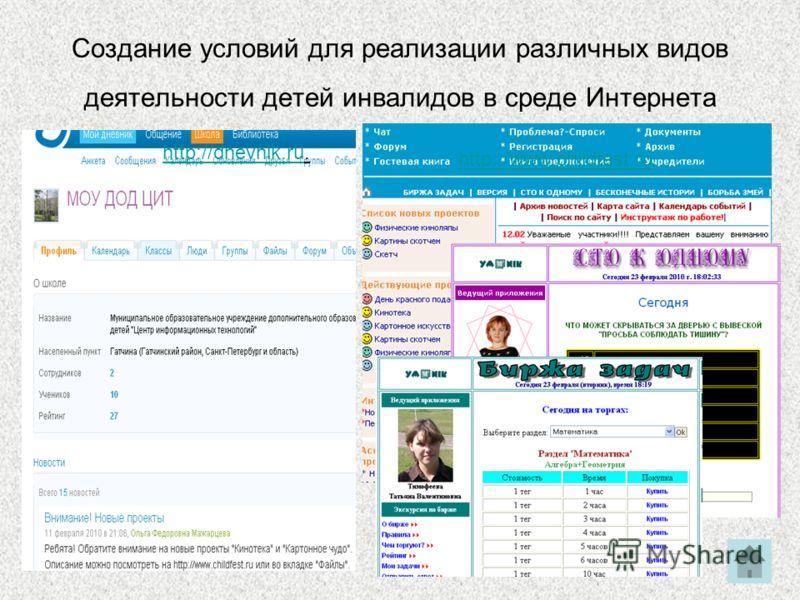 Создание условий для реализации различных видов деятельности детей инвалидов в среде Интернета http://dnevnik.ruhttp://dnevnik.ru. http://www.childfest.ru
