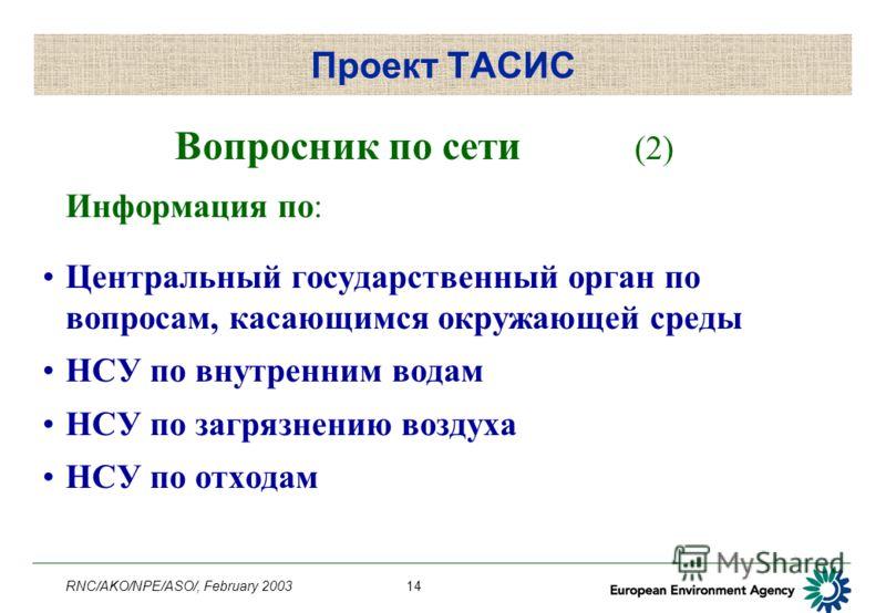 RNC/AKO/NPE/ASO/, February 200314 Проект ТАСИС Вопросник по сети (2) Информация по: Центральный государственный орган по вопросам, касающимся окружающей среды НСУ по внутренним водам НСУ по загрязнению воздуха НСУ по отходам