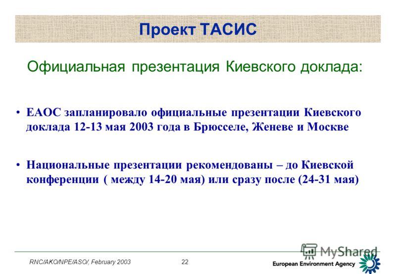 RNC/AKO/NPE/ASO/, February 200322 Проект ТАСИС Официальная презентация Киевского доклада: ЕАОС запланировало официальные презентации Киевского доклада 12-13 мая 2003 года в Брюсселе, Женеве и Москве Национальные презентации рекомендованы – до Киевско