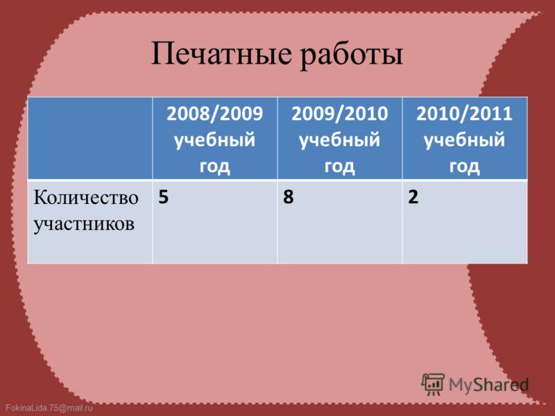FokinaLida.75@mail.ru Печатные работы 2008/2009 учебный год 2009/2010 учебный год 2010/2011 учебный год Количество участников 582