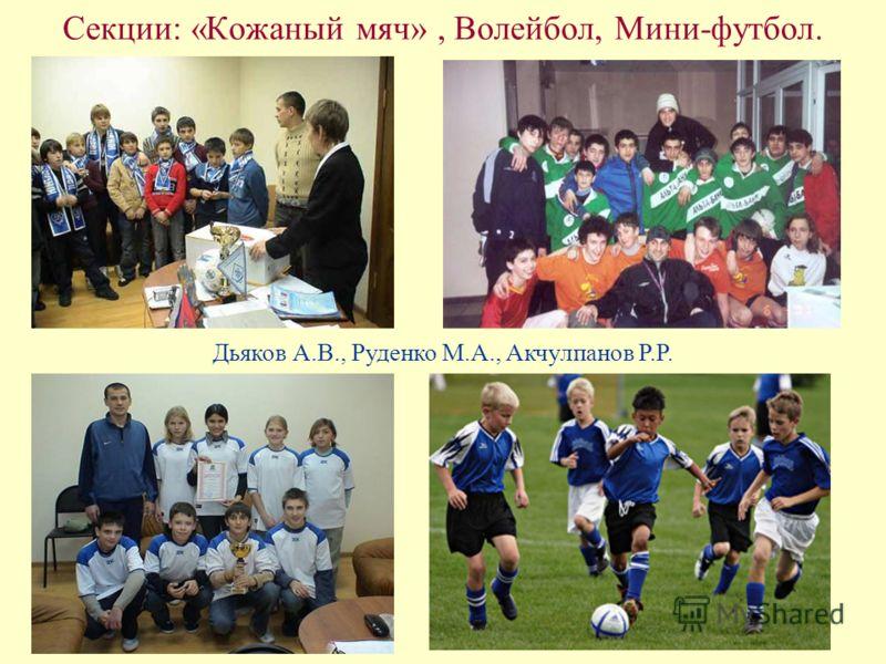Секции: «Кожаный мяч», Волейбол, Мини-футбол. Дьяков А.В., Руденко М.А., Акчулпанов Р.Р.