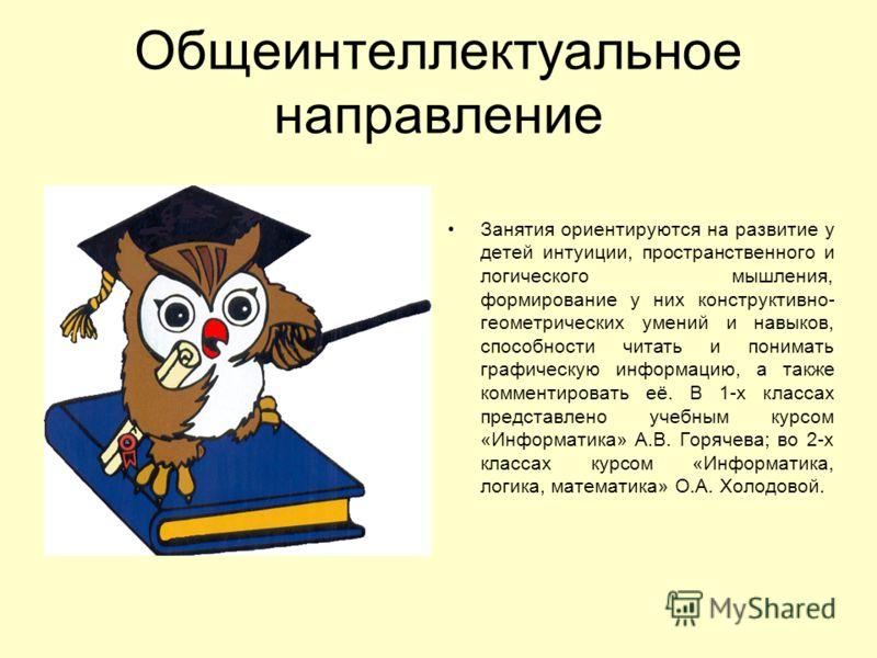 Общеинтеллектуальное направление Занятия ориентируются на развитие у детей интуиции, пространственного и логического мышления, формирование у них конструктивно- геометрических умений и навыков, способности читать и понимать графическую информацию, а