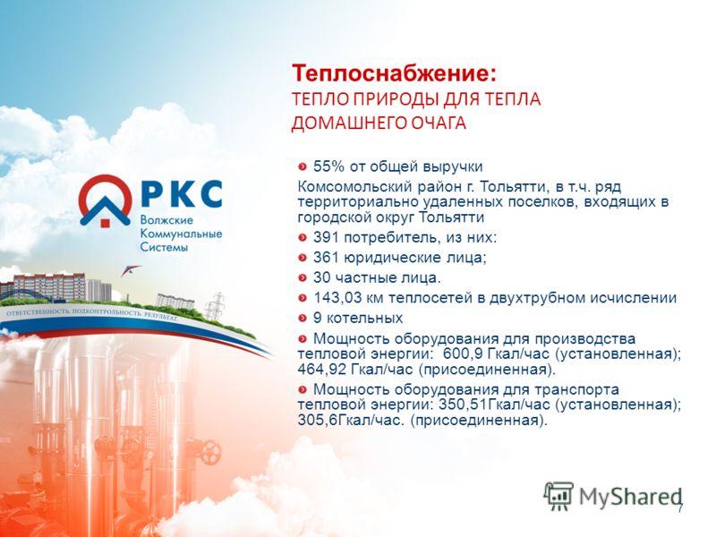 7 Теплоснабжение: ТЕПЛО ПРИРОДЫ ДЛЯ ТЕПЛА ДОМАШНЕГО ОЧАГА 55% от общей выручки Комсомольский район г. Тольятти, в т.ч. ряд территориально удаленных поселков, входящих в городской округ Тольятти 391 потребитель, из них: 361 юридические лица; 30 частны