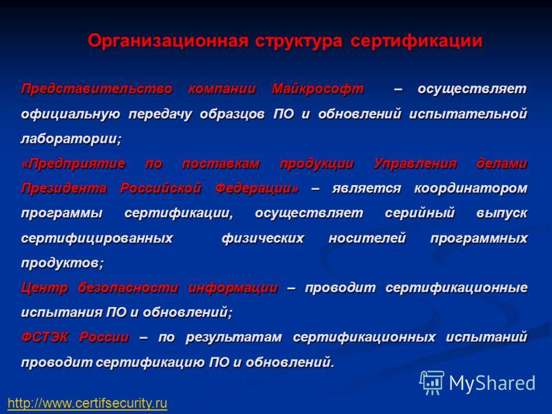Представительство компании Майкрософт – осуществляет официальную передачу образцов ПО и обновлений испытательной лаборатории; «Предприятие по поставкам продукции Управления делами Президента Российской Федерации» – является координатором программы се
