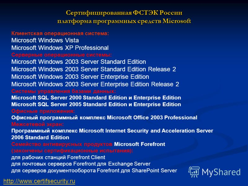 Клиентская операционная система: Microsoft Windows Vista Microsoft Windows XP Professional Серверные операционные системы: Microsoft Windows 2003 Server Standard Edition Microsoft Windows 2003 Server Standard Edition Release 2 Microsoft Windows 2003