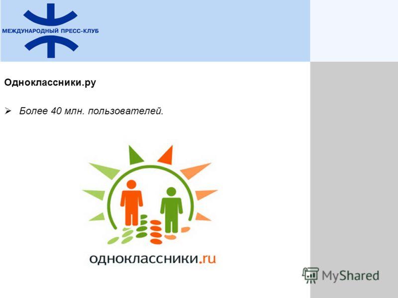 Одноклассники.ру Более 40 млн. пользователей.