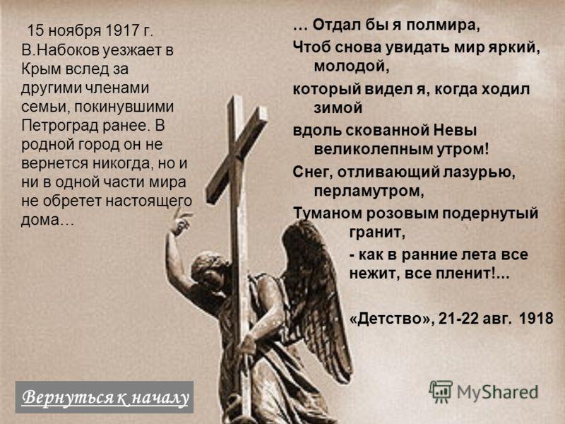 15 ноября 1917 г. В.Набоков уезжает в Крым вслед за другими членами семьи, покинувшими Петроград ранее. В родной город он не вернется никогда, но и ни в одной части мира не обретет настоящего дома… … Отдал бы я полмира, Чтоб снова увидать мир яркий,