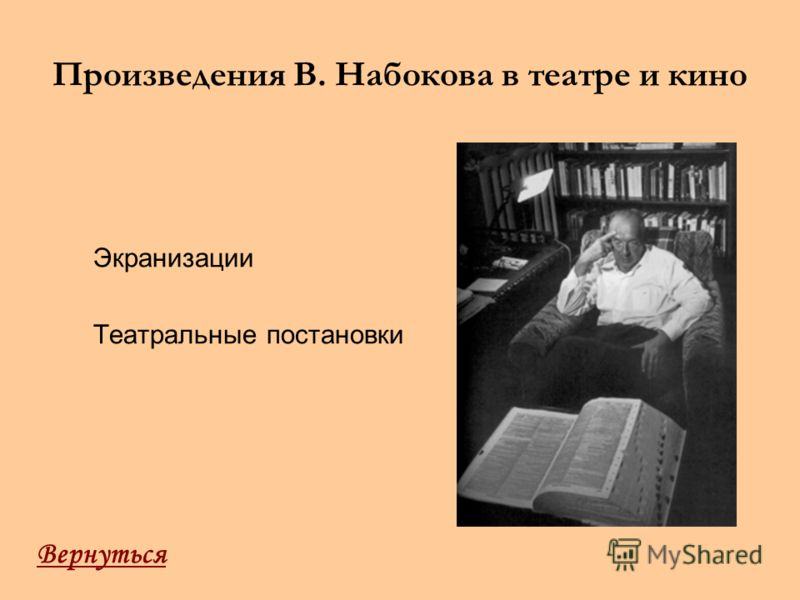 Произведения В. Набокова в театре и кино Экранизации Театральные постановки Вернуться