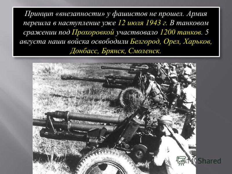 Принцип «внезапности» у фашистов не прошел. Армия перешла в наступление уже 12 июля 1943 г. В танковом сражении под Прохоровкой участвовало 1200 танков. 5 августа наши войска освободили Белгород, Орел, Харьков, Донбасс, Брянск, Смоленск.