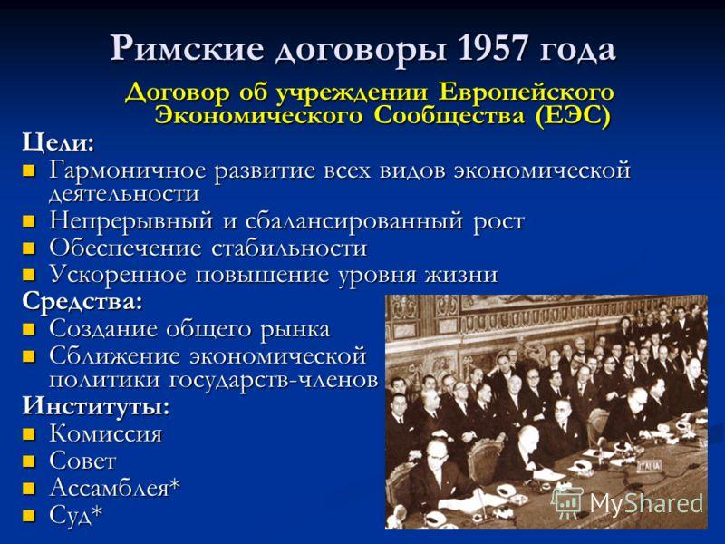 Римские договоры 1957 года Договор об учреждении Европейского Экономического Сообщества (ЕЭС) Цели: Гармоничное развитие всех видов экономической деятельности Гармоничное развитие всех видов экономической деятельности Непрерывный и сбалансированный р