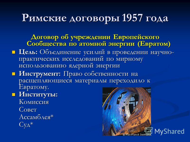 Римские договоры 1957 года Договор об учреждении Европейского Сообщества по атомной энергии (Евратом) Цель: Объединение усилий в проведении научно- практических исследований по мирному использованию ядерной энергии Цель: Объединение усилий в проведен