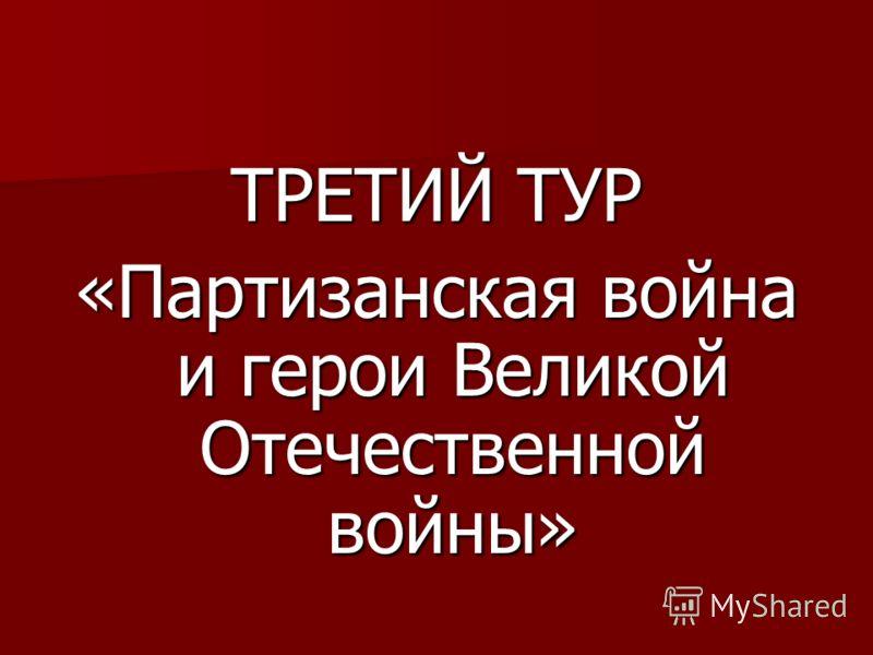 ТРЕТИЙ ТУР «Партизанская война и герои Великой Отечественной войны»