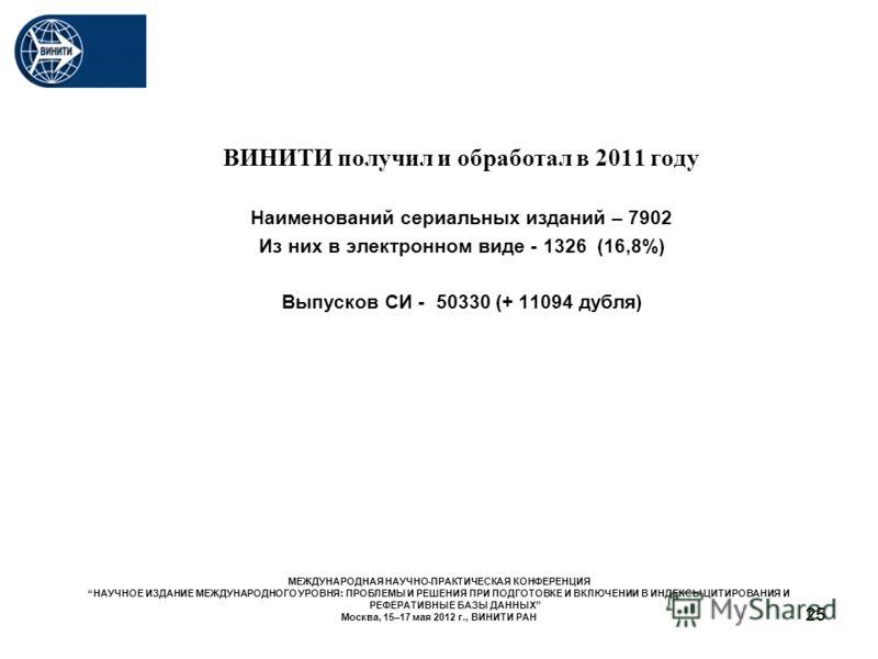 25 ВИНИТИ получил и обработал в 2011 году Наименований сериальных изданий – 7902 Из них в электронном виде - 1326 (16,8%) Выпусков СИ - 50330 (+ 11094 дубля) МЕЖДУНАРОДНАЯ НАУЧНО-ПРАКТИЧЕСКАЯ КОНФЕРЕНЦИЯ НАУЧНОЕ ИЗДАНИЕ МЕЖДУНАРОДНОГО УРОВНЯ: ПРОБЛЕМ