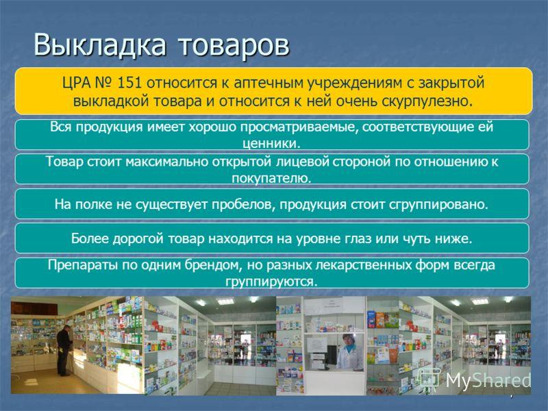 7 Выкладка товаров ЦРА 151 относится к аптечным учреждениям с закрытой выкладкой товара и относится к ней очень скурпулезно. Вся продукция имеет хорошо просматриваемые, соответствующие ей ценники. Товар стоит максимально открытой лицевой стороной по