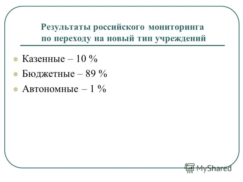 Результаты российского мониторинга по переходу на новый тип учреждений Казенные – 10 % Бюджетные – 89 % Автономные – 1 %