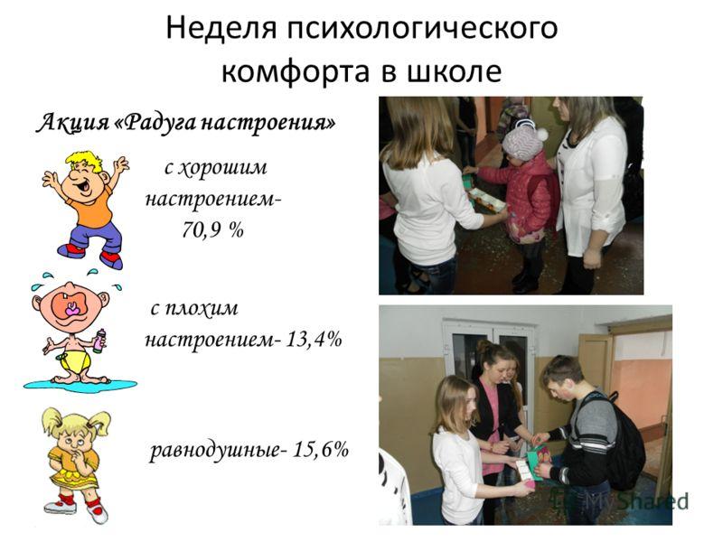 Неделя психологического комфорта в школе Акция «Радуга настроения» с хорошим настроением- 70,9 % равнодушные- 15,6% с плохим настроением- 13,4%