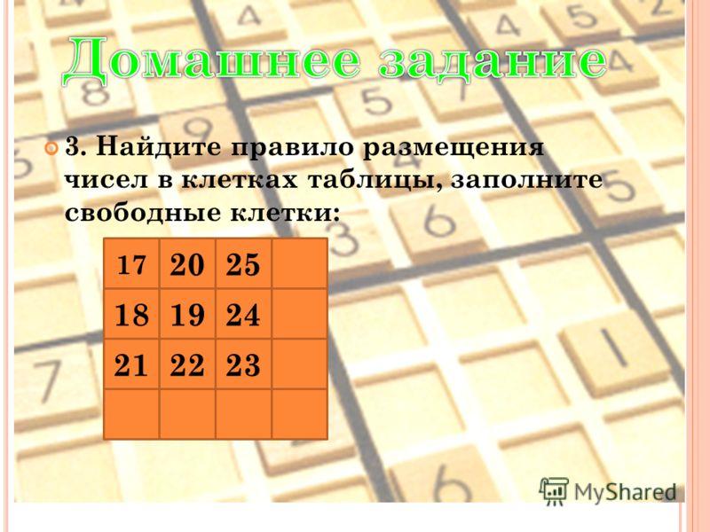 3. Найдите правило размещения чисел в клетках таблицы, заполните свободные клетки: 17 2025 181924 212223