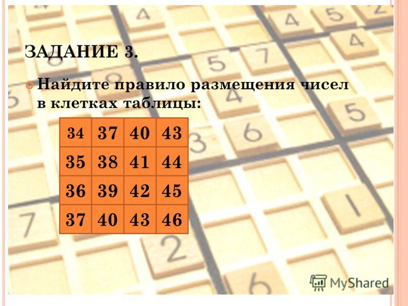 ЗАДАНИЕ 3. Найдите правило размещения чисел в клетках таблицы: 34 374043 353841 44 363942 4037 45 43 46